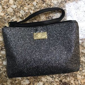 NEW Betsey Johnson black glitter wristlet.